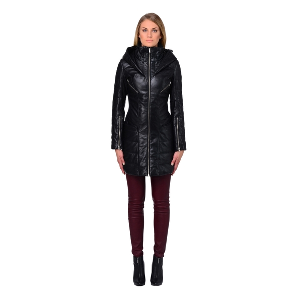 LAMARQUE ELIZABETH Leather Puffer Coat