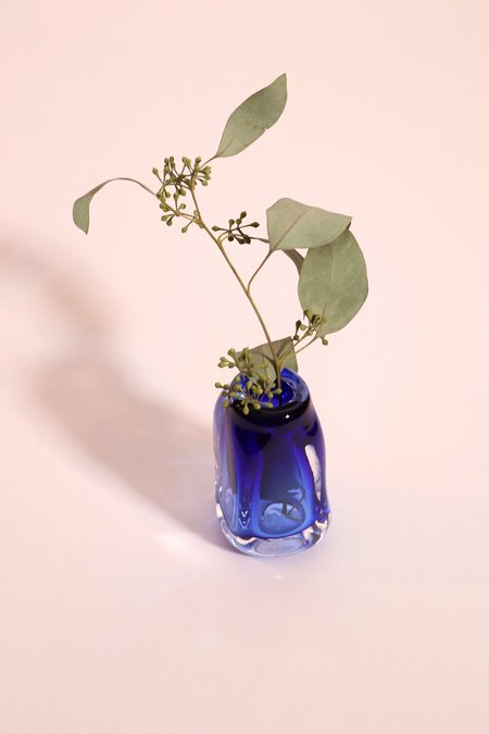 Bale Fire Glass Small Suspension Vase - Sapphire