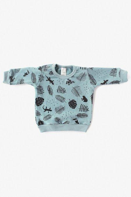 Kids North Of West Jungle Organic Crew Sweatshirt - Aqua/Black