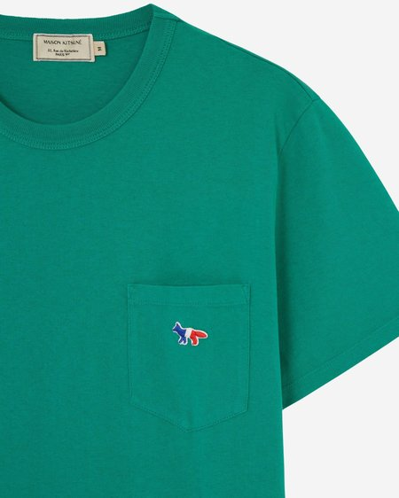 Maison Kitsune Tricolor Fox Pocket Tee - Green