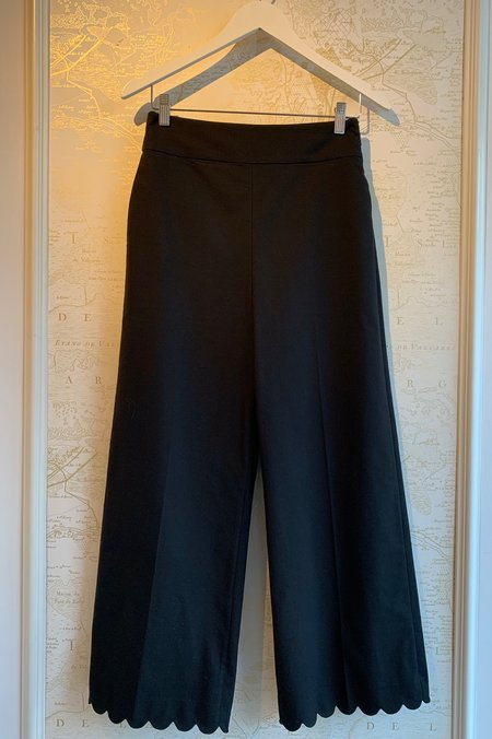 Rebecca Taylor Scalloped Cropped Pant - black