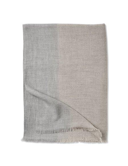 Oyuna Ete Finely Woven Basket Weave Cashmere Throw - Beige/Soft Grey