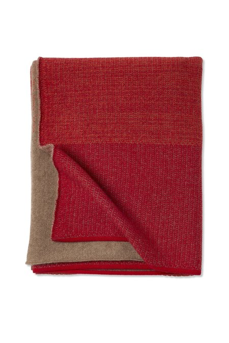 Oyuna Nala Knitted Textured Cashmere Throw - Red/Sunset