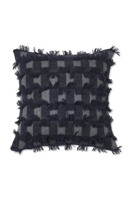 Oyuna Seren Knitted Hand Cut Fringed Cushion Cover - Slate Grey