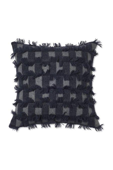 Oyuna Seren Knitted Hand Cut Fringed Cushion Cover - Slate Grey