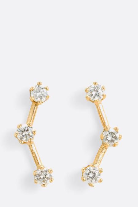 Satomi Kawakita White Diamond Triple Stone Studs
