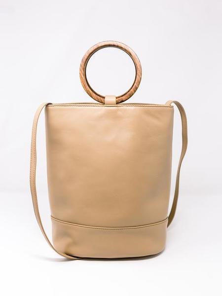 Payton James Wood Handle Leather Bucket Bag - Cappuccino