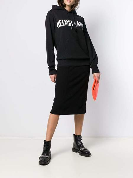 Helmut Lang Contrast Logo Hoodie - Black Basalt