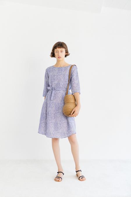 Samuji Finch Dress in Tuuli - Ecru/Blue