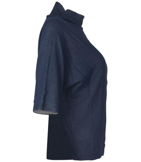 Anika Lenaskarstrom Cotton High Neck T Shirt - Blue