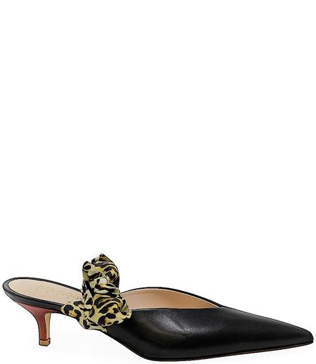Gia Couture Leather Mules - black