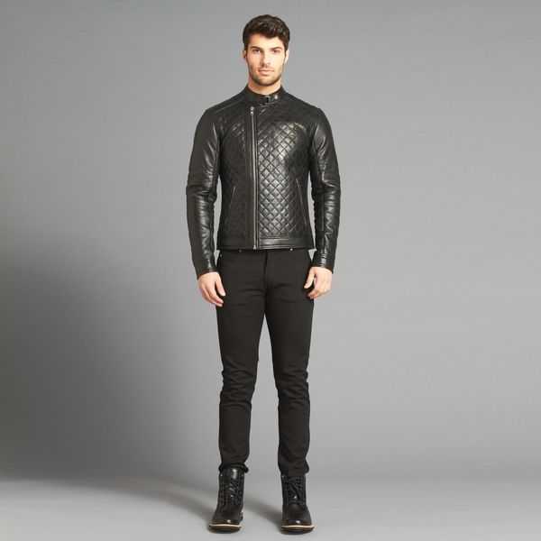 MEN'S LAMARQUE LOADED TRIGGER Quilted Leather Motorcycle Jacket