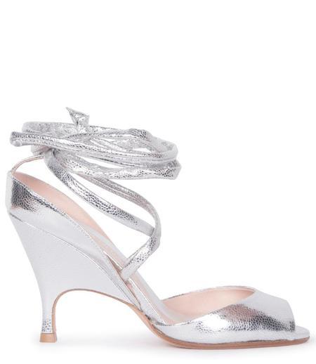 ALCHIMIA DI BALLIN Lidae Ankle-Tie Metallic Leather Sandal - Silver