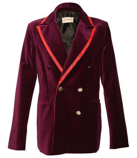 Giuliette Brown Velvet Double Breasted Woven Jacket - Violet