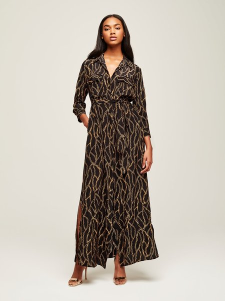 f2504e63ba7 ... L Agence Cameron Long Shirt Dress - Black Multi Chain