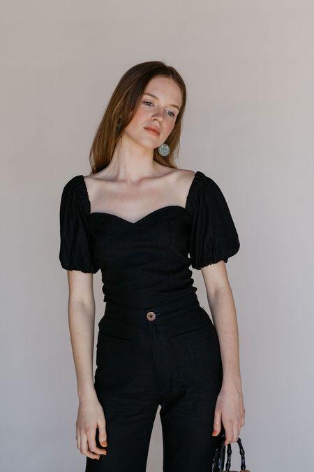 Lykke Wullf Cherry Blouse - Black Linen