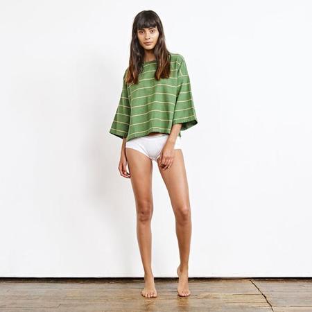 Ace & Jig Play Shirt - Cactus Green/Cream Stripes