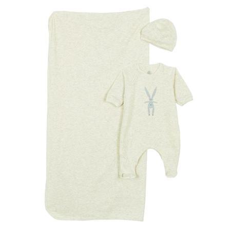 KIDS Petit Bateau Three Piece Box Set Pyjamas With Feet, Blanket And Hat - Grey With Striped Rabbit