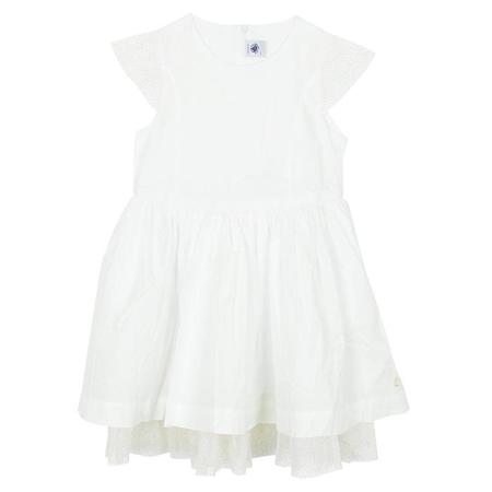 KIDS Petit Bateau Short Sleeved Dress With Glitter Tulle - White