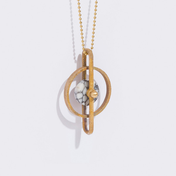 Metalepsis Projects Disc Pendant - White Stone