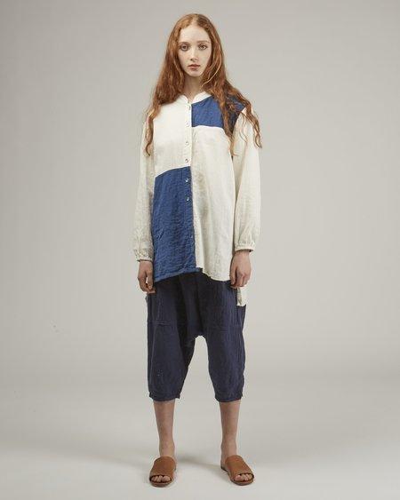Atelier Delphine Sabine Indigo Patchwork Shirt - White/Blue