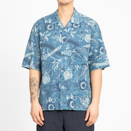 s.k. manor hill Aloha Shirt - Floral Indigo