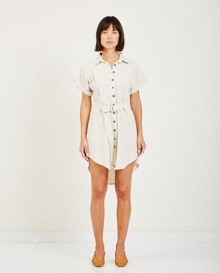 SAINT HELENA ONDINE SHIRT DRESS - CREAM/PINSTRIPES