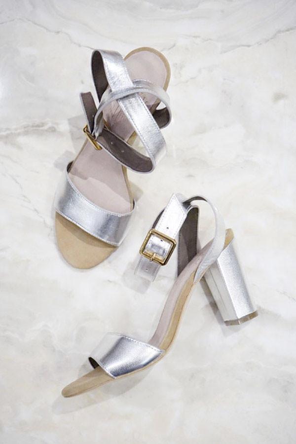 Charlotte Stone Samia Heels Silver
