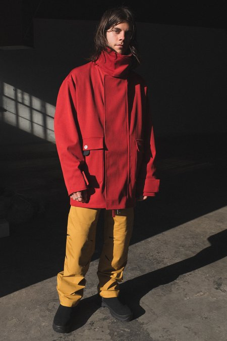 Mackintosh 0004 Wool Fireman Coat - Brick Red