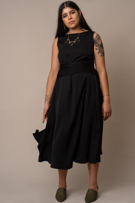 Altar Houseline Silky Cupro Tie-Waist Dress - BLACK