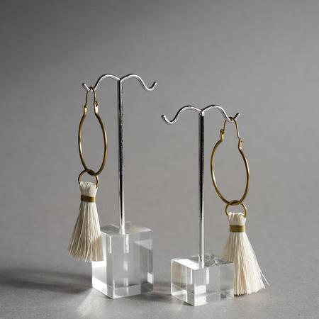 The Salt Empire Tassel Earrings - Brass/Cream
