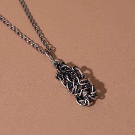 Theeth Mushroom Skull Necklace - Sterling Silver