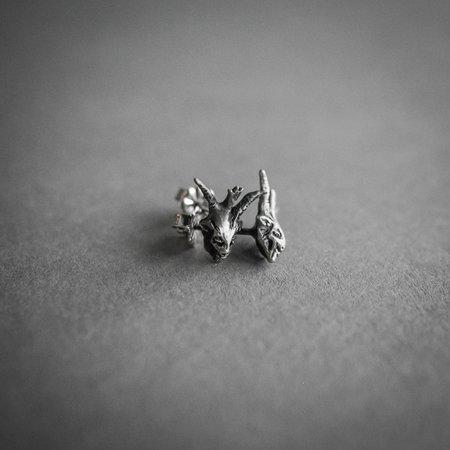 Theeth Devil Head Stud Earrings - SILVER