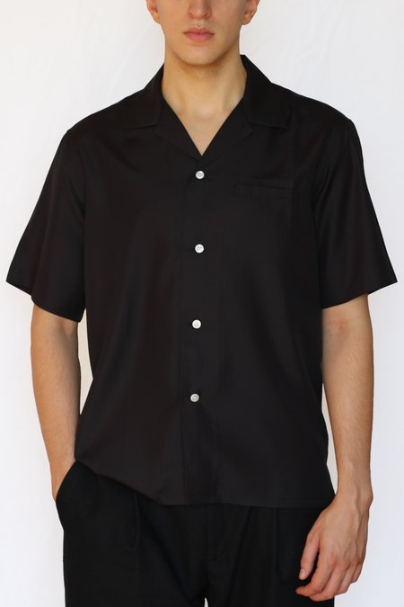 Commun des Mortels silk camp collar shirt - Black