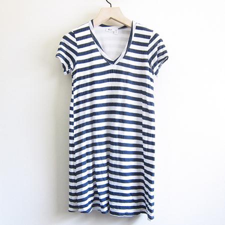 Wilt Stripe V Trapeze Dress - White/Navy