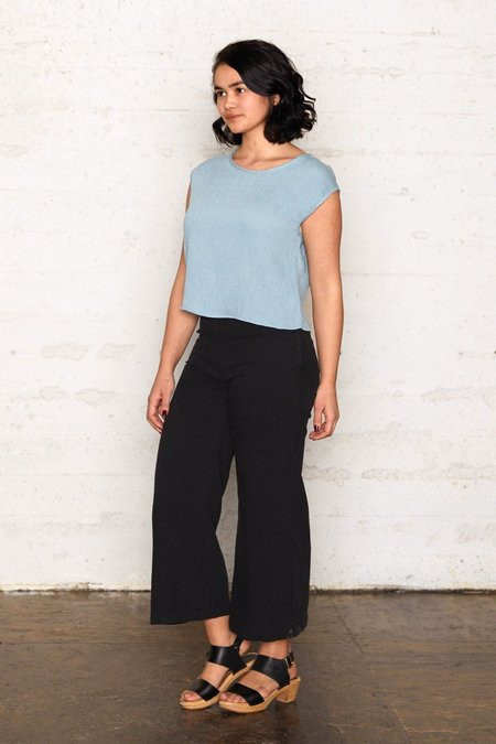 North Of West Crinkle Cropped Blouse - Aqua
