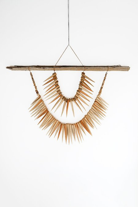 Heather Levine Large Wall Hanging With Driftwood and Spikes - Tan