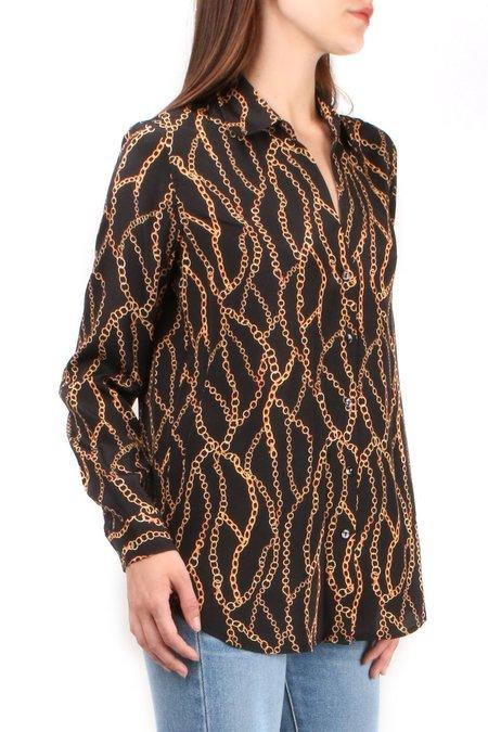 L'agence Nina Long Sleeve Blouse - Black Multi Chain