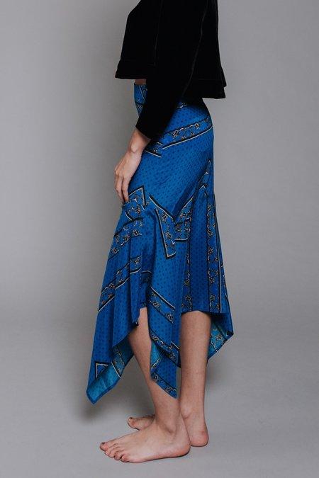 Ganni Sandwashed Silk Skirt - Lapis Blue