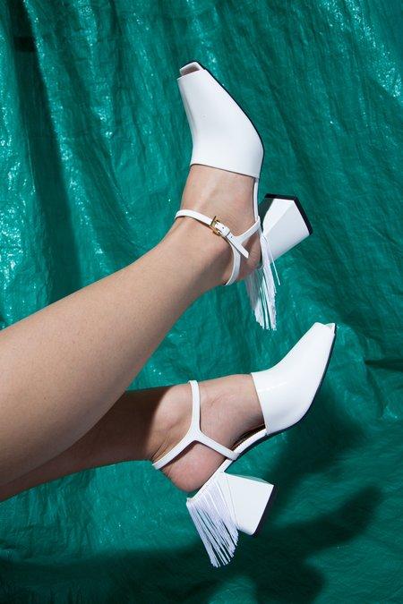 Suzanne Rae Fringe Back Sandal - white