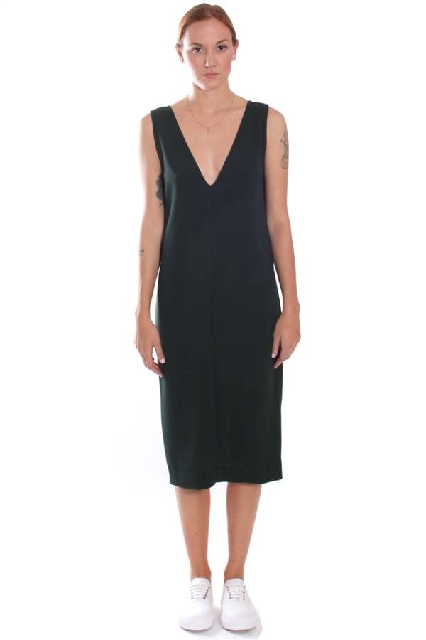 Nomia V-Neck Shift Dress Forest Pique