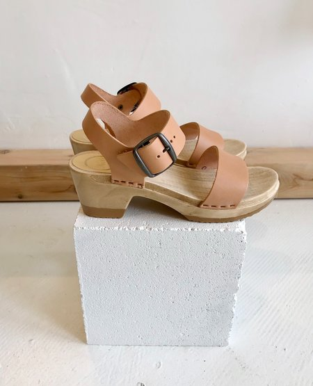No.6 Two Strap Clog Mid Heel - Naked