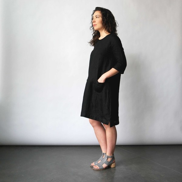 Modaspia Cottage Dress in Black Linen