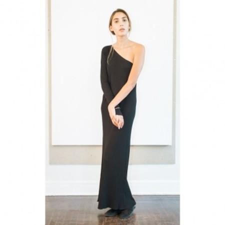 Pari Desai sabine Asymmetric Column DRESS - Black