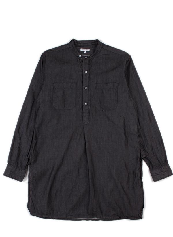 Banded Collar Long Shirt Black 4oz Denim
