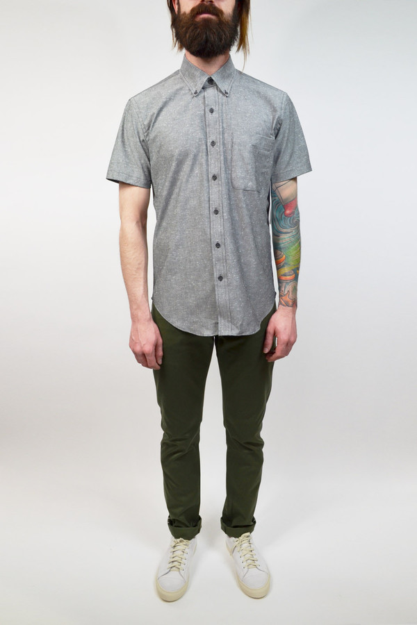 Men's United Stock Dry Goods Nep S/S Shirt I Grey
