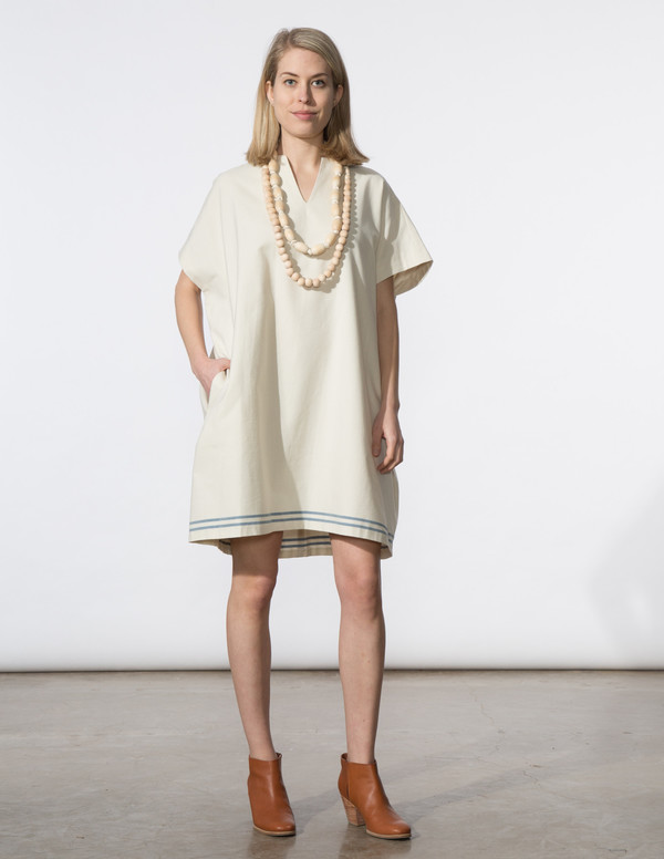 SBJ Austin Mary Dress in Cream/Blue Stripe
