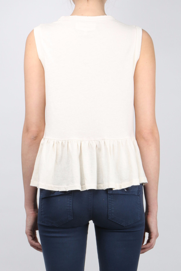 The Great The Sleeveless Ruffle Tee