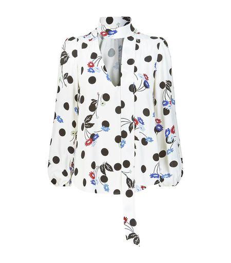 Rixo London white polka dot floral tie blouse - multi