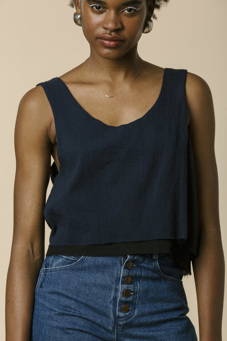 Carleen Double Layer Tank - Navy/Black